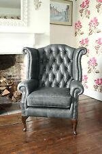 Chesterfield Queen Anne High Back Wing Chair in Vintage Grey Leather
