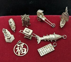 VARIOUS SILVER CHARMS ORIENTAL STYLE CHARMS
