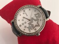 Guess Watch Black Genuine Leather Band Women Crystal Accent Wrist Watch