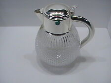 "Rare 24% Lead Crystal Coffee Water Pitcher with silver plate handle 9.5"" tall"