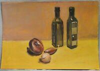 Gemälde Küchen-Stilleben mit Essig,Öl und Zwiebeln, Gouache, A. Netkal
