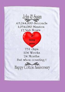 """Cotton Wedding"" anniversary (2 year) tea towel personalised names etc"