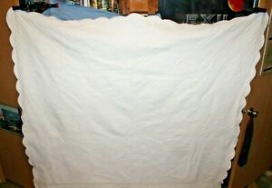 """Early 1900's White on White Scallop Edge Quilt All Hand stitched 72 """" X 84"""""""