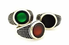 TURKISH OTTOMAN BLACK ONYX RED GREEN AGATE STERLING SILVER RING US 10.5-11.75