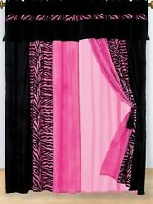 8 piece Modern Hot Pink black Leopard Zebra print  striped micro fur curtain set