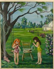 "Vtg. Original Painting ""Soap Bubbles"" Girls Blowing Bubbles Paint By Numbers?"