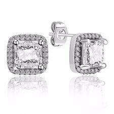 Fashion Jewelry European 925 Silver Zircon Ear Stud Earrings For Women's Wedding