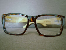 Bamboo Wooden Arms Vintage Retro Nerd Geek Tortoise Shell Glasses 70s 80s