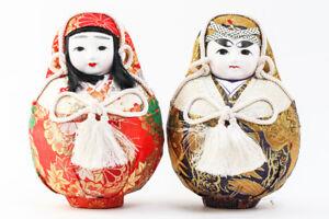 "Japanese Nishiki Hime Daruma 9"" Dolls Kimono Traditional Crafts #22510"