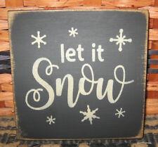 PRIMITIVE  COUNTRY LET IT SNOW  mini  sq   SIGN