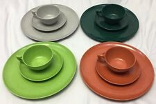 Color Flyte Melmac Lot Dinner Dessert Plates Mugs Branchell Green Orange Gray 12