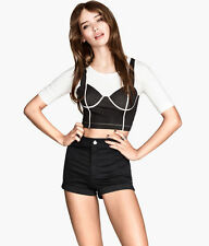 H&M Crew Neck Cropped Casual Tops & Shirts for Women