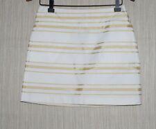 J.Crew Cotton Blend White Gold Striped Mini Skirt Size:2