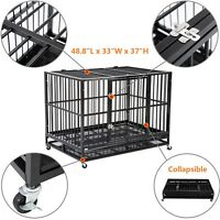 """48"""" Heavy Duty Dog Cage Crate Kennel Metal Pet Playpen Portable w/ Tray New"""