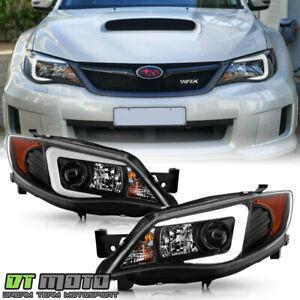 For Blk 2008-14 Subaru Impreza WRX [Halogen Model] LED DRL Projector Headlights