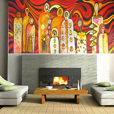 "Huge Aboriginal inspired Art Painting Mimi Gods Fire 71"" x 32"" jane crawford"