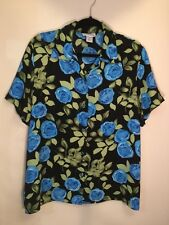 Courtenay - Black w/Blue & Green Floral Print Button Up Short Sleeve Blouse  L