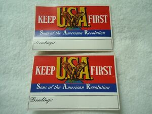 Sons of the American Revolution  #107274- Keep USA First - Postcards X 2