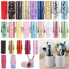 Leather Cosmetic Cup Case Makeup Brush Pen Holder Empty Storage Box Organizer