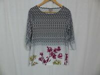 Chico's Womens 3/4 Sleeve Printed Shirt Floral Cotton Blend Casual Size 1 Medium