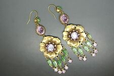 Askew London green pink glass drop gold-plated rose earrings