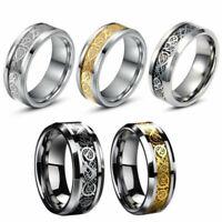 Size 6-12 Celtic Dragon Titanium Stainless Steel Men's Wedding Band Rings