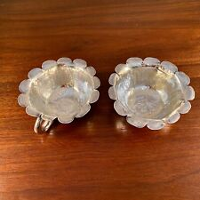 (2) EARLY CHINESE STERLING SILVER 19TH CENTURY HAND CRAFTED FLOWER SHAPED CUPS