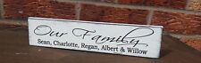 Our Family members name plaque personalised shabby & chic vintage plaque sign