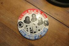 US First Man on the Moon button, pin, Epic Journey of Apollo 11, 1969, space,old