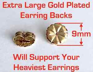 12 Pairs of Hypo-Allergy Extra-large Surgical Steel Gold Plated Earring Backs.