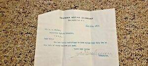 Rare George Eastman Kodak signed typed salary letter A. A Ruttan 1911 No Reserve