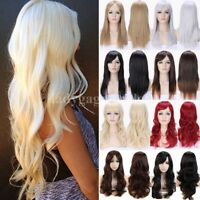 Fashion Hair Wig With Bangs Long Curly Straight Wavy Full Wig Women Natural Wigs
