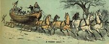 Victorian Christmas Trade Card Boat-Shaped Sled Team Of Horses Snow F80