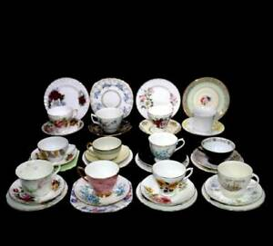 Vintage 12 person 44 piece Mad Hatters Tea Party mixed teacup trio tea set