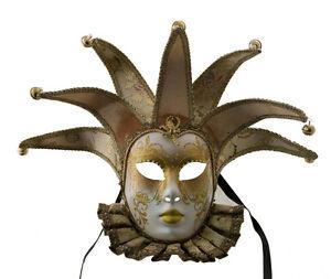 Maske Venedig- Volto Jolly Ab Bayern Gelb Und Golden 7 Spikes Muse 1597