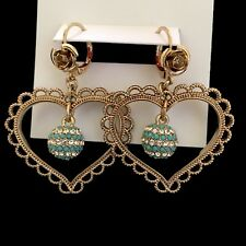BETSEY Johnson Anchors Away Turquoise Crystals Orbital Heart Gold Tone Earrings