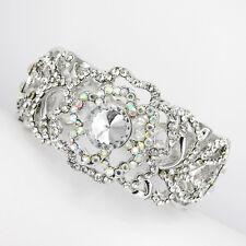 Flower Floral Bridal Wedding Party Crystal Bangle Bracelet Clear Silver Tone New