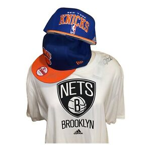 Jason Kidd Lot Of 3 Autographed 2 Knicks Draft Snapback Hats Nets T Shirt New