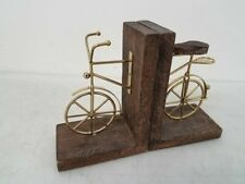 Brass and Wood Bicycle Book Ends