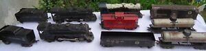 Marx Tin Mixed Train Lot Engines Tenders & Freight Cars Lot Of 10 Pieces.