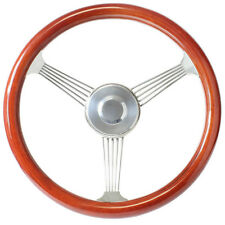 """Ford Hot Rod 15"""" Mahogany Banjo Steering Wheel with Stainless Steel Spokes"""