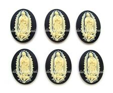 6 New Ivory Color on Black Lady Of Guadalupe 40mm x 30mm Costume Jewelry Cameos