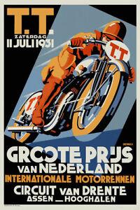 A3 A4 Size - Vintage Dutch TT Races 1930s Assen Biker Wall  Art Old Poster