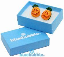 Bluebubble TRICK OR TREAT 15mm Pumpkin Face Earrings Gift Box Funky Fancy Dress