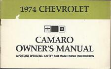 CHEVROLET CAMARO Manuel 1974 Owner 's Manual anglais BA