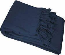 Le Jardin Des Cigales Lana Cotton Fringe Sofa Throw, Blue Blanket 180 x 220 cm