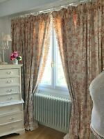 "LAURA ASHLEY CURTAINS linen ""PELHAM STRIPE"" shabby chic CABBAGES ROSES rare HUGE"