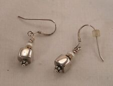 BALI Sterling Silver 2.8g Square Block with FW Pearl Dangle Earrings ~ Signed