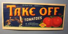 Old Vintage 1940's TAKE OFF Tomatoes LABEL D. Goldberg Pompano FLORIDA - Ducks