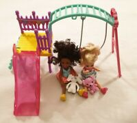 Barbie Club Chelsea Playground Swing with Two Dolls & Two Teddies Playset Toy